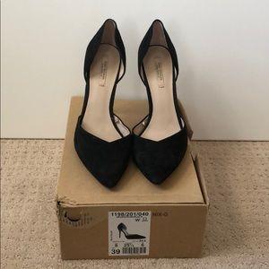 Zara black suede d'Orsay pumps